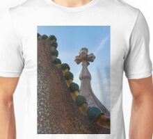 Capricious Trencadis Mosaics - Antoni Gaudi Dragon Back and Cross Turret at Casa Batllo Unisex T-Shirt