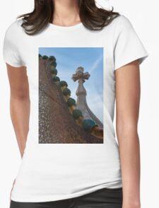 Capricious Trencadis Mosaics - Antoni Gaudi's Dragon's Back and Cross Turret at Casa Batllo Womens Fitted T-Shirt