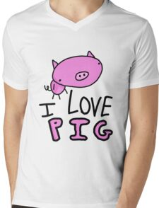 I Love Pig T-Shirt Mens V-Neck T-Shirt