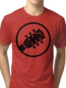 gibson  stylized headstock black Tri-blend T-Shirt
