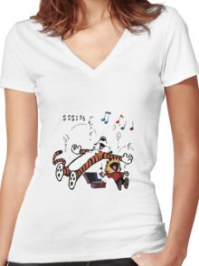 Calvin and Hobbes Sleep Women's Fitted V-Neck T-Shirt