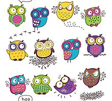 Comics owls Photographic Print