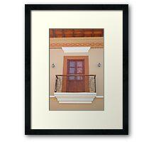 Brown Door and Balcony Framed Print