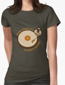 Vintage Vinyl Record High Fidelity Stereo Sound Womens Fitted T-Shirt