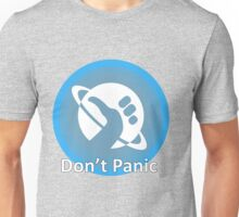 Don't Panic! Hitchhikers guide to the galaxy themed dont panic, thumbs up symbol, blue, minimal Unisex T-Shirt