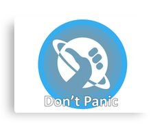 Don't Panic! Hitchhikers guide to the galaxy themed dont panic, thumbs up symbol, blue, minimal Canvas Print