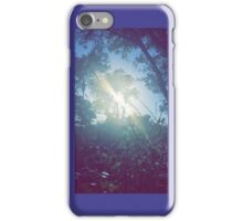 Colorful, cinematic shot of sun through grass and trees iPhone Case/Skin