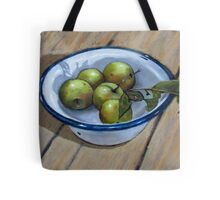 Green Apples in Old Enamel Bowl, Oil Pastel Painting Tote Bag