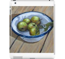 Green Apples in Old Enamel Bowl, Oil Pastel Painting iPad Case/Skin