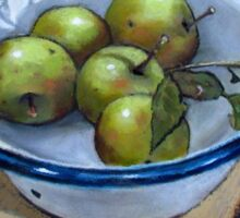 Green Apples in Old Enamel Bowl, Oil Pastel Painting Sticker