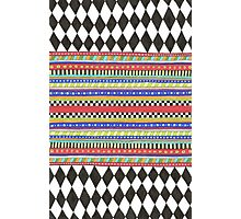 black and white harlequin pattern with bright stripes Photographic Print