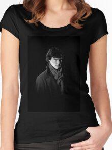 Sherlock Holmes portrait Women's Fitted Scoop T-Shirt