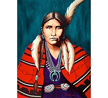 Navajo Woman in Red Photographic Print
