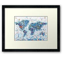 world map geometry  Framed Print