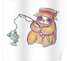 Fisherman Sloth Drawing Poster