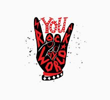 You rock my world - hand lettering sign design in black and red.  Unisex T-Shirt