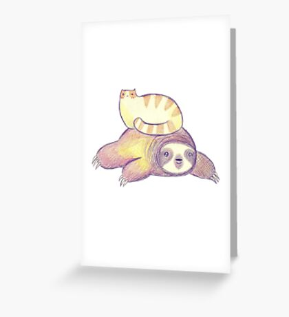 Sloth and Tabby Cat Greeting Card