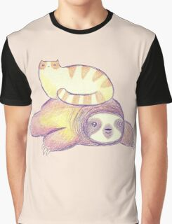 Sloth and Tabby Cat Graphic T-Shirt