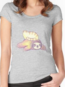 Sloth and Tabby Cat Women's Fitted Scoop T-Shirt