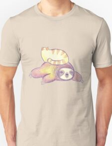 Sloth and Tabby Cat Unisex T-Shirt