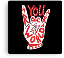 You rock my world lettering typography sign illustration in white and red. Canvas Print