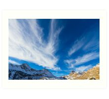 Sky, clouds and mountains. Art Print