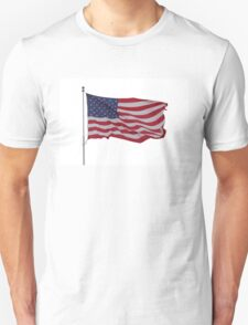 red white and blue on white T-Shirt