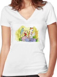 Adventure with Calvin & Hobbes Women's Fitted V-Neck T-Shirt