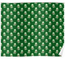 Bowtie Octopus Green Pattern Poster