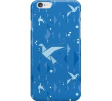 Origami birds in blue iPhone Case/Skin