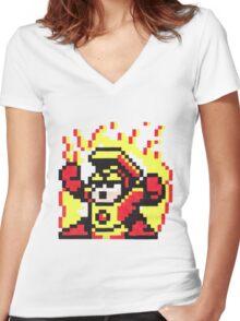 heat man Women's Fitted V-Neck T-Shirt