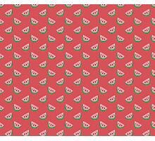 Pink Watermelon Slice Pattern Photographic Print
