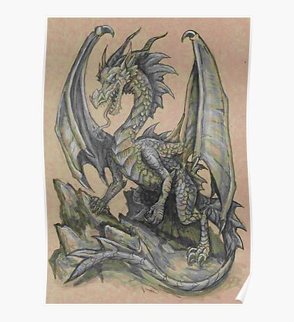 Awesome Dragon Drawing  Poster