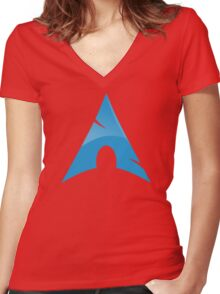 Arch Linux Logo Women's Fitted V-Neck T-Shirt