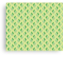 Green Ribbon Cat Pattern Canvas Print