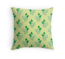Green Ribbon Cat Pattern Throw Pillow