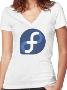 Fedora Logo Women's Fitted V-Neck T-Shirt