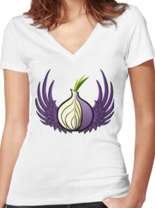 Tor Logo with Wings Women's Fitted V-Neck T-Shirt