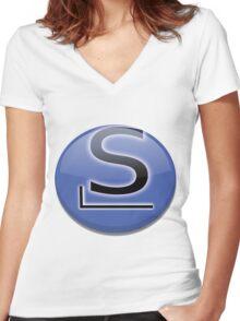 Slackware Logo Women's Fitted V-Neck T-Shirt
