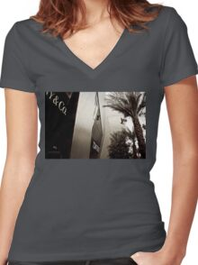 Tom Ford Menswear Shop in Vegas  2 - Black and White 2 Women's Fitted V-Neck T-Shirt