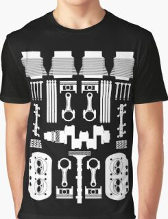 VW Air Cooled Flat Four Engine Parts - White Print Graphic T-Shirt