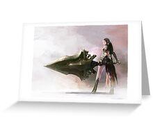 Anime Girl Sword Play Greeting Card