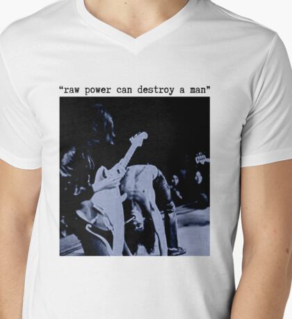 JEFF BUCKLEY RAW POWER CAN DESTROY A MAN T SHIRT iggy pop Mens V-Neck T-Shirt