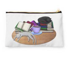 Cat Nap with Books & Tea (Black & Tabby) Studio Pouch