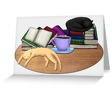Cat Nap with Books & Tea (Black & Ginger) Greeting Card