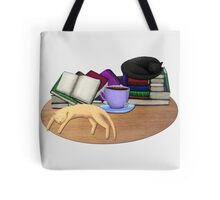 Cat Nap with Books & Tea (Black & Ginger) Tote Bag