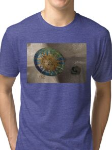 Stylized Sun - Antoni Gaudi's Ceiling Medallion at Hypostyle Room in Park Guell - Left Horizontal Tri-blend T-Shirt