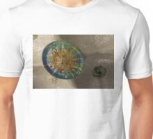Stylized Sun - Antoni Gaudi Ceiling Medallion at Hypostyle Room in Park Guell - Left Horizontal Unisex T-Shirt