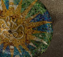 Stylized Sun - Antoni Gaudi Ceiling Medallion at Hypostyle Room in Park Guell - Left Horizontal Sticker