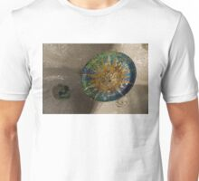 Stylized Sun - Antoni Gaudi's Ceiling Medallion at Hypostyle Room in Park Guell - Right Horizontal Unisex T-Shirt